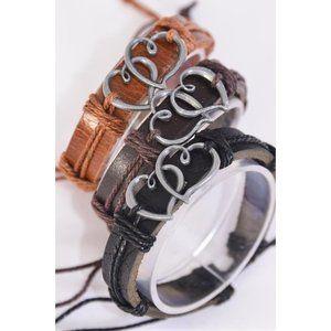 Leather Band Double Heart Love Valentine Bracelet